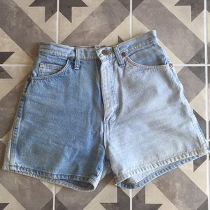 Vintage wrangler block color jean shorts